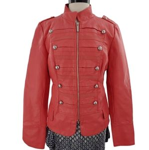 Pink? Orange? Fabulous military style faux leather